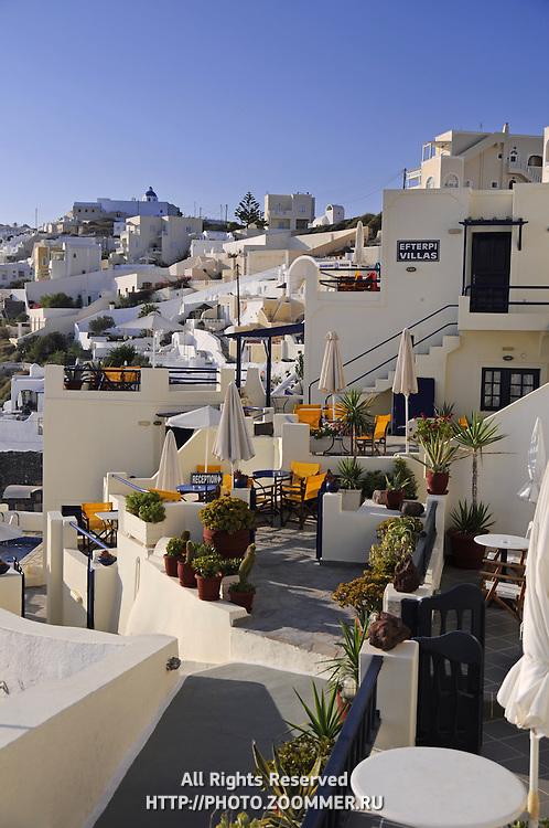 Hotel balconies in Firostefani with scenic caldera view in Santorini