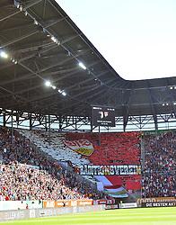 16.04.2016, WWK Arena, Augsburg, GER, 1. FBL, FC Augsburg vs VfB Stuttgart, 30. Runde, im Bild Fanchoreografie in der Kurve mit Fahnen und Transpartenten des VfB Stuttgart // during the German Bundesliga 30th round match between FC Augsburg and VfB Stuttgart at the WWK Arena in Augsburg, Germany on 2016/04/16. EXPA Pictures © 2016, PhotoCredit: EXPA/ Eibner-Pressefoto/ hierm<br /> <br /> *****ATTENTION - OUT of GER*****