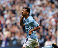 Photo: Paul Greenwood.<br />Manchester City v Manchester United. The FA Barclays Premiership. 19/08/2007.<br />Manchester City's Geovanni runs away in celebration after scoring the opening goal
