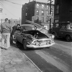 Oldsmobile Eighty Eight Automobile, Wrecked at Wallace & Saint John Streets New Haven CT circa 1962. On-The-Scene Accident Photograph by Robert F Anderson Legal Photo Service