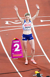 London, August 10 2017 . Eilidh Doyle, Great Britain, awaits the start of the women's 400m hurdles final on day seven of the IAAF London 2017 world Championships at the London Stadium. © Paul Davey.