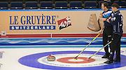 "Glasgow. SCOTLAND.  left. Tom BREWSTER and Glen MUIRHEAD, ""Round Robin"" Games. Le Gruyère European Curling Championships. 2016 Venue, Braehead  Scotland<br /> Monday  21/11/2016<br /> <br /> [Mandatory Credit; Peter Spurrier/Intersport-images]"