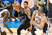 June 2, 2012; Oklahoma City, OK, USA;  San Antonio Spurs guard Danny Green (4) looks to make a pass during a playoff game against the Oklahoma City Thunder at Chesapeake Energy Arena.  Thunder defeated the Spurs 109-103 Mandatory Credit: Beth Hall-US PRESSWIRE