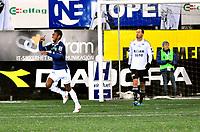 Fotball Herrer Tippeligaen 2011<br /> Gamle gress Marienlyst stadion 23.10.2011<br /> <br /> Strømsgodset vs Rosenborg<br /> <br /> Resultat <br /> <br /> Foto: Robert Christensen Digitalsport<br /> <br /> Strømsgodset Ola Kamara jubler for noe han tror var hans scoring men Rosenborg og Lago var sist på ballen