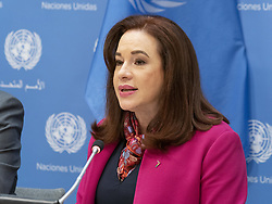 April 30, 2019 - New York, New York, United States - President of General Assembly Maria Fernanda Espinosa Garces attends press briefing on upcoming Play it Out Concert to beat plastic pollution at UN Headquarters (Credit Image: © Photographer Lev Radin/Pacific Press via ZUMA Wire)