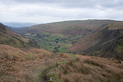 Landscape view near Pistyll Rhaeadr waterfall in Llanrhaeadr-ym-Mochnant, Wales, United Kingdom. This area is in the extreme north of Powys, near the foothills of the Berwyn mountains on the river Rhaeadr.