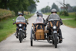 Doc Hopkins with Lyn Jevicky in the sidecar of his 1916 Harley Davidson J model and his daughter Kersten on her '22 Harley-Davidson J model beside him on the Motorcycle Cannonball coast to coast vintage run. Stage 5 (229 miles) from Bowling Green, OH to Bourbonnais, IL. Wednesday September 12, 2018. Photography ©2018 Michael Lichter.