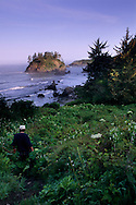 Hiker on trail at Trinidad State Beach, Humboldt County, California