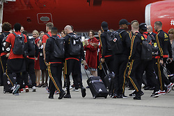 June 13, 2018 - Zaventem, BELGIUM - Players on the way to the special plane of Brussels Airlines called 'the Trident' with Belgian flag colours and pictures of players at the departure of the Belgian national soccer team Red Devils, Wednesday 13 June 2018, in Zaventem airport. The Red Devils flight to Moscow today for the FIFA World Cup 2018...BELGA PHOTO THIERRY ROGE (Credit Image: © Thierry Roge/Belga via ZUMA Press)