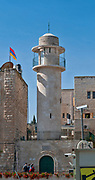 Minaret of the Sidna Omar Mosque, in the Jewish Quarter, Old City, Jerusalem, Israel