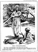 Mohondas Karamchand Gandhi  (1869-1948), known as Mahatma (Great Soul). Indian Nationalist leader.  Gandhi fasting in protest against the British government's proposal to segregate India's Untouchables, even to the extent of allotting them different electorates. Cartoon from 'Punch', London, 28 September 1932