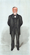Andrew Carnegie (1835-1918) Scottish-born American philanthropist and industrialist who gave £70,000.000 to good causes. Spy cartoon from 'Vanity Fair' London 1903.