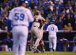 Madison Bumgarner and Buster Posey hug after Game 7 of the World Series, 2014 World Series Champion Giants