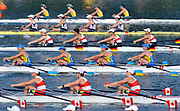 Shunyi, CHINA.   women's quads  move away from the start in their Repechage, at the 2008 Olympic Regatta, Shunyi Rowing Course. Tuesday 12.08.2008  [Mandatory Credit: Peter SPURRIER, Intersport Images]