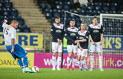 Morton's Garry O'Connor's free kick.<br /> Falkirk 1 v 1 Morton, Scottish Championship game today at The Falkirk Stadium.<br /> © Michael Schofield.