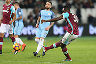 Michail Antonio of West Ham United taking a shot at goal. Premier league match, West Ham Utd v Manchester city at the London Stadium, Queen Elizabeth Olympic Park in London on Wednesday 1st February 2017.<br /> pic by John Patrick Fletcher, Andrew Orchard sports photography.