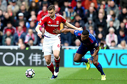 Ben Gibson of Middlesbrough goes past Luis Antonio Valencia of Manchester United - Mandatory by-line: Robbie Stephenson/JMP - 19/03/2017 - FOOTBALL - Riverside Stadium - Middlesbrough, England - Middlesbrough v Manchester United - Premier League