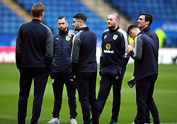 """Burnley players inspect the pitch before the Premier League match at the King Power Stadium, Leicester. PRESS ASSOCIATION Photo Picture date: Saturday December 2, 2017. See PA story SOCCER Leicester. Photo credit should read: Mike Egerton/PA Wire. RESTRICTIONS: EDITORIAL USE ONLY No use with unauthorised audio, video, data, fixture lists, club/league logos or """"live"""" services. Online in-match use limited to 75 images, no video emulation. No use in betting, games or single club/league/player publications."""