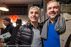 Mr. Martini Friday night party celebrating the opening of his bar / restaurant at the workshop during the Motor Bike Expo. Verona, Italy. January 22, 2016.  Photography ©2016 Michael Lichter.