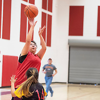 Jackie Francisco with a jump shot for Navajo Technical University (NTU), Saturday, Feb. 2 at NTU in Crownpoint in a staff and faculty basketball game between NTU and Diné College.