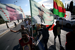 October 9, 2018 - Athens, Attica, Greece - Kurdish people living in Greece shout slogans against Turkish president Recep Tayyip Erdogan as they stage a protest outside the Turkish Embassy in Athens, Greece on October 9, 2018. (Credit Image: © Giorgos Georgiou/NurPhoto via ZUMA Press)