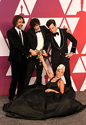 "Lady Gaga, Andrew Wyatt, Anthony Rossomando and Mark Ronson, winners of the Best Original Song Awards for ""Shallow"" in ""A Star Is Born"" at the 91st Annual Academy Awards"