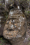 Stone carving by the Withers<br /> near pirate caves<br /> Highlands<br /> Floreana Island<br /> Galapagos<br /> Ecuador,  South America