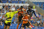 Kenwyne Jones of Cardiff city ® scores his teams 1st goal.  Skybet football league championship match, Cardiff city v Wolverhampton Wanderers at the Cardiff city stadium in Cardiff, South Wales on Saturday 22nd August 2015.<br /> pic by Carl Robertson, Andrew Orchard sports photography.