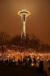 North America, United States, Washington, Seattle, Space Needle and Seattle Center during Winter Solstice Festival