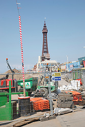 Building works renewing tram lines at Blackpool.