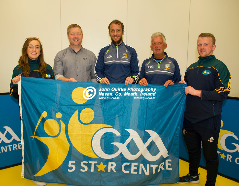 19-06-19. Meath GAA Coaching and Games Development 5 Star Flag presentation to Ashbourne Educate Together at Dunganny Centre of Excellence.<br /> L to R: FSiofra Cleary, Teacher. Alan Mulhall, Leinster GAA Provincial Games Manager. Jamie Queeney, Meath GAA Games Manager. Martin Lynch, Meath GAA Coaching and Michael Gleeson, Teacher.<br /> Photo: John Quirke / www.quirke.ie<br /> ©John Quirke Photography, Unit 17, Blackcastle Shopping Cte. Navan. Co. Meath. 046-9079044 / 087-2579454.
