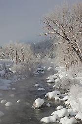 """""""Snowy Truckee River 1"""" - This foggy and snowy scene of the Truckee River was photographed in Downtown Truckee, CA."""