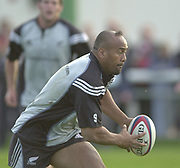 Richmond, Surrey, UK.,  04/11/2002, Jonah LOMU, warming up prior to the , All Black Rugby Training, Richmond Athletic Ground, Old Deer Park, [Mandatory Credit; Peter Spurrier/Intersport Images]