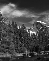 Half Dome and the Merced River. Yosemite Valley in the Winter. Yosemite National Park. Image taken with a Nikon D3x camera and 70-200 mm f/2.8 lens.