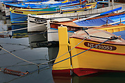 Colorful boats in the Nice harbor on Cote D'Azur in France
