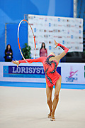 Jerõgina Karina during qualifying at hoop in Pesaro World Cup at the Adriatic Arena on April 27, 2013. Karina is an Estonian individual gymnast born January 7, 1997 in Tallin, Estonia.