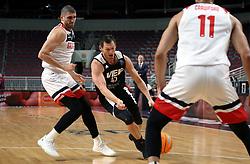 RIGA, Nov. 6, 2019  Janis Blums (C) of VEF Riga breaks through during the group C match at Europe Basketball Champions League in Riga, Latvia, on Nov. 5, 2019. (Photo by Edijs Palens/Xinhua) (Credit Image: © Edijs Palens/Xinhua via ZUMA Wire)