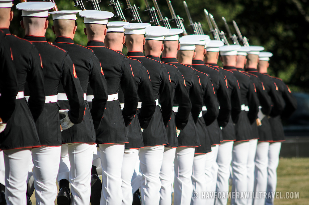 The Marine Corps Silent Drill Platoon perform at the Sunset Parade at the Iwo Jima Memorial (Marine Corps Memorial) in Arlington, VA, on Tuesday evenings during the summer.