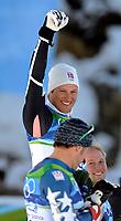 Siegerehrung mit Bode Miller (USA) Sieger Aksel Lund Svindal (NOR) und Andrew Weibrecht (USA) . © Valeriano Di Domenico/EQ Images