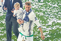 Real Madrid celebration parade at Santiago Bernabeu Stadium in Madrid. Real Madrid team celebrates with supporters their victory against Juventus in the UEFA Champions League final. Madrid beat Juventus 4-1 on 03 June in Cardiff. 04 Jun 2017 Pictured: Sergio Ramos (defender; Real Madrid), Pilar Rubio, sons. Photo credit: Jack G / MEGA TheMegaAgency.com +1 888 505 6342