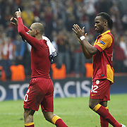 Galatasaray's Tebily Didier Yves Drogba (R) and Felipe Melo De Carvalho (L) during their UEFA Champions League Quarter-finals, Second leg match Galatasaray between Real Madrid at the TT Arena AliSamiYen Spor Kompleksi in Istanbul, Turkey on Tuesday 09 April 2013. Photo by Aykut AKICI/TURKPIX
