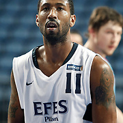 Efes Pilsen's Bootsy THORNTON during their Turkish Basketball league match Efes Pilsen between MP Trabzonspor at the Sinan Erdem Arena in Istanbul Turkey on Friday 11 March 2011. Photo by TURKPIX