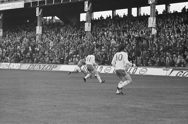 Kerry attempts to stop the balling going out of play during the All Ireland Minor Gaelic Football Final, Tyrone v Kerry in Croke Park on the 28th September 1975.
