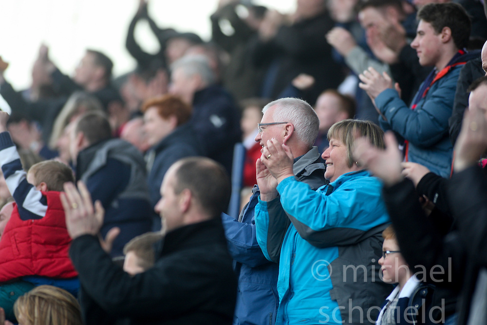 Main stand after Falkirk's Bob McHugh scored their second goal. <br /> Falkirk 3 v 2 St Mirren, Scottish Championship game played 9/4/2016 today at The Falkirk Stadium.