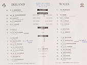 Rugby 12/03/1960 Five Nations Ireland Vs Wales
