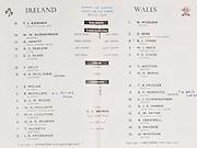 Irish Rugby Football Union, Ireland v Wales, Five Nations, Landsdowne Road, Dublin, Ireland, Saturday 12th March, 1960,.12.3.1960, 3.12.1960,..Referee- D A Brown, Rugby Football Union, ..Score- Ireland 9 - 10 Wales, ..Irish Team, ..T J Kiernan,  Wearing number 15 Irish jersey, Full Back, University college Cork Football Club, Cork, Ireland,  ..W W Bornemann, Wearing number 14 Irish jersey, Right Wing, Wanderers Rugby Football Club, Dublin, Ireland, ..D Hewitt, Wearing number 13 Irish jersey, Right centre, Queens University Rugby Football Club, Belfast, Northern Ireland,..A C Pedlow, Wearing number 12 Irish jersey, Left Centre,  C I Y M S Rugby Football Club, Belfast, Northern Ireland, ..D C Glass, Wearing number 11 Irish jersey, Left Wing, Collegians Rugby Football Club, Belfast, Northern Ireland,..S Kelly, Wearing number 10 Irish jersey, Outside Half, Landsdowne Rugby Football Club, Dublin, Ireland, ..A A Mulligan, Wearing number 9 Irish jersey, Captain of the Irish team, Scrum Half, London Irish Rugby Football Club, Surrey, England, ..S Millar, Wearing number 1 Irish jersey, Forward, Ballymena Rugby Football Club, Antrim, Northern Ireland,..B McCallan, Wearing number 2 Irish jersey, Forward, Ballymena Rugby Football Club, Antrim, Northern Ireland,..B G Wood, Wearing number 3 Irish jersey, Forward, Landsdowne Rugby Football Club, Dublin, Ireland,..W A Mulcahy, Wearing number 4 Irish jersey, Forward, University College Dublin Rugby Football Club, Dublin, Ireland, ..M G Culliton, Wearing number 5 Irish jersey, Forward, Wanderers Rugby Football Club, Dublin, Ireland, ..N Murphy, Wearing number 6 Irish jersey, Forward, Cork Constitution Rugby Football Club, Cork, Ireland,..T McGrath, Wearing number 7 Irish jersey, Forward, Garryowen Rugby Football Club, Limerick, Ireland, ..J R Kavanagh, Wearing number 8 Irish jersey, Forward, Wanderers Rugby Football Club, Dublin, Ireland, ..Welsh Team, ..N Morgan, Wearing number 1 Welsh jersey, Full Back, Newport Rugby Football Club,