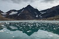 Ice filled water of small bay near Kulusuk, Sermersooq, East Greenland