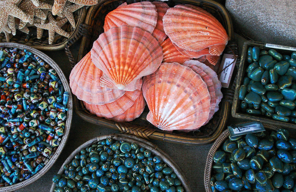 Scallop shells, beads offered for sale, open air market, Mexico