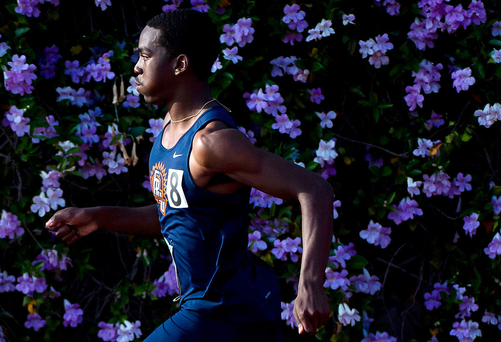 Lawrence Cairo #8 of Fresno Pacific University races in a meet during the 2019 PacWest Championships at Azusa Pacific University on April 26th, 2019 in Azusa, California. (Photo by Katelyn Mulcahy)