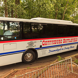Gettysburg, PA, USA / July 8, 2013: A battlefield tour bus parked at Little Round Top on the battlefield.